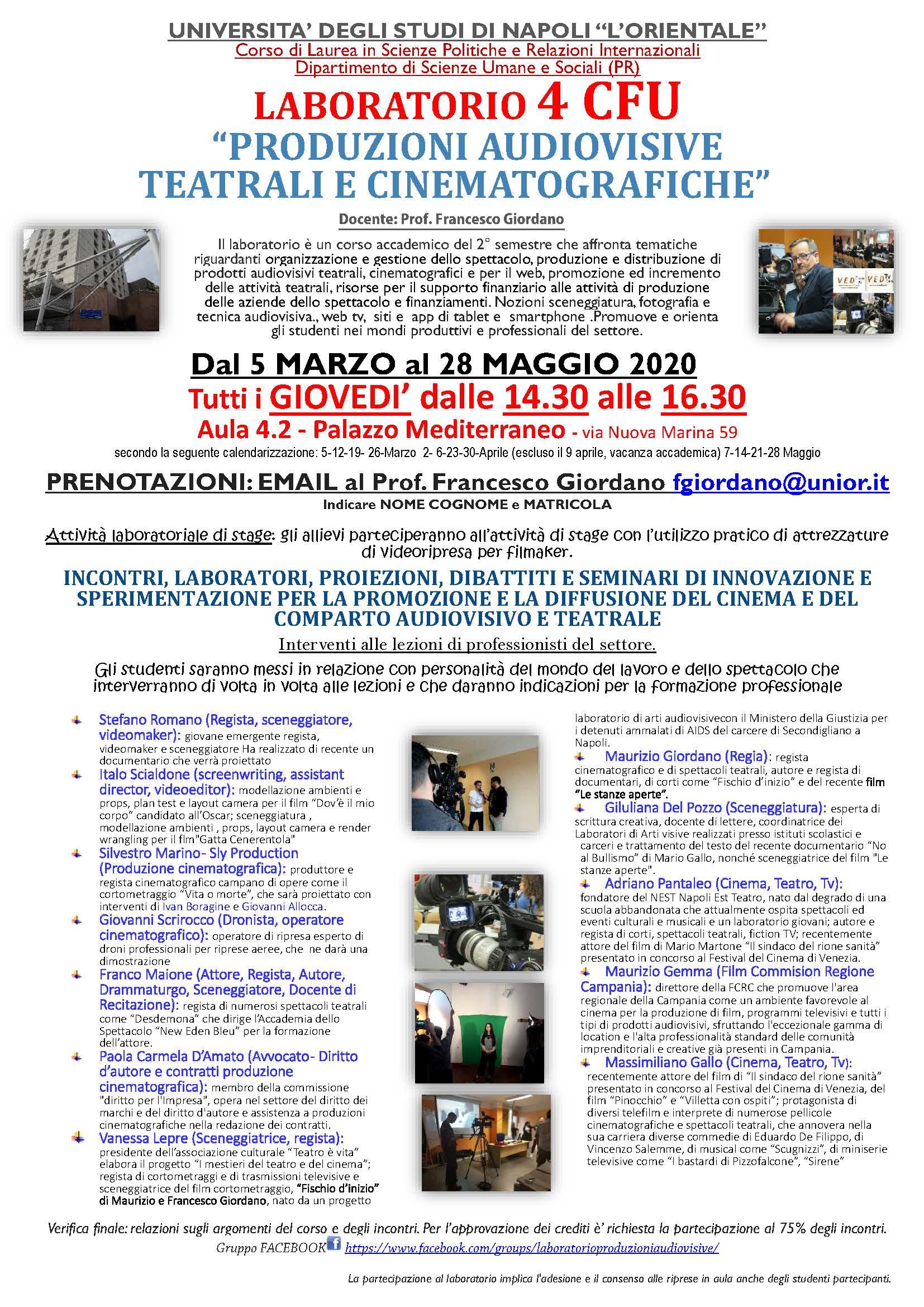 LABORATORIO DI PRODUZIONI AUDIOVISIVE, TEATRALI E CINEMATOGRAFICHE - UNIOR - 2019/2020